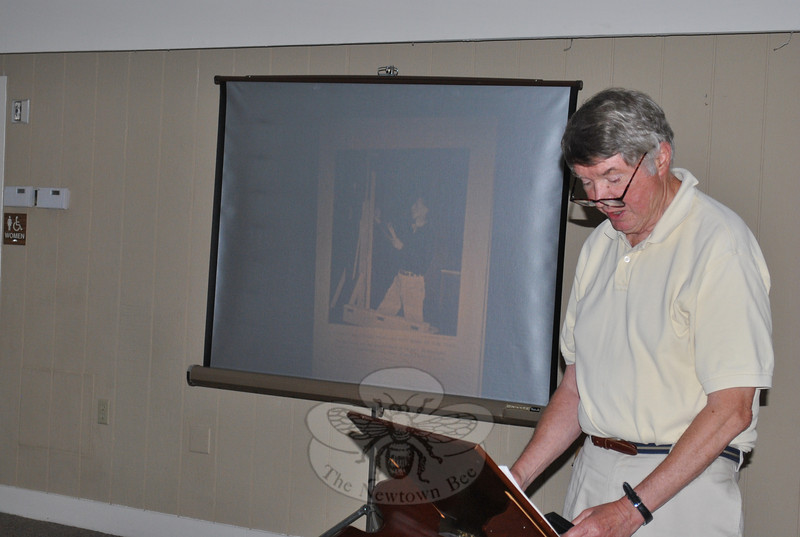 "Newtown resident and former history teacher Gordon Williams lectured on the life of Norman Rockwell on Wednesday, June 16, at a special ""Norman Rockwell Day"" celebration at Nunnawauk Meadows.  (Crevier photo)"