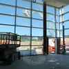 Looking out from inside Newtown High School's new cafeteria in the expansion.  (Hallabeck photo)