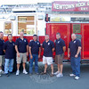 Newly elected officers for Newtown Hook & Ladder gathered on Tuesday, June 29, outside the fire company's firehouse on Main Street. From left, Chief Jason Rivera, First Assistant Chief Ray Corbo, Second Assistant Chief Joe Miller, Third Assistant Chief Mike McCarthy, Chief Engineer Rob Manna, First Assistant Engineer Brian Slattery, and Second Assistant Engineer Dave Ober.  (Hallabeck photo)