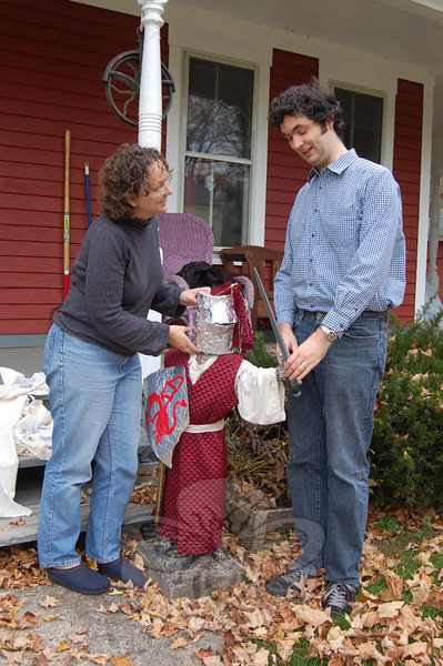 "Jessica Buster and David Turkington have had fun all year dressing up ""Charlie,"" the lawn jockey statue outside their Riverside Road apartment. Nancy Crevier revisits this story and others in her look back at 2009 in the January 1, 2010 issue of The Newtown Bee.  (Crevier photo)"