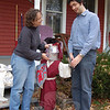 """Jessica Buster and David Turkington have had fun all year dressing up """"Charlie,"""" the lawn jockey statue outside their Riverside Road apartment. Nancy Crevier revisits this story and others in her look back at 2009 in the January 1, 2010 issue of The Newtown Bee.  (Crevier photo)"""