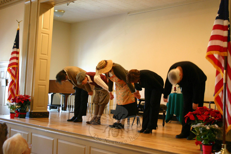 "Sean Hannon, Kathryn Marchand, Florence Phillips, Kate Katcher and Don Striano take a bow following their reading of ""A Chrismtas Memory"" at Edmond Town Hall on December 17.  (Hicks photo)"