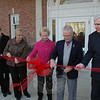 First Selectman Pat Llodra (center, in pink) and former First Selectmen Joseph Borst (second from right) and Herb Rosenthal were on hand for ribbon cutting and dedication ceremories at Newtown Municipal Center on November 21. This story and more are covered in John Voket's year in review in the January 1 issue of The Newtown Bee.  (Gorosko photo)