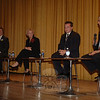 Four first selectman candidates took the stage at Edmond Town Hall in October for the second such debate sponsored by The Newtown Bee. From left is Democrat Gary Fetzer, Republican Pat Llodra, unaffiliated candidate Patrick Heigel, and Independent Party of Newtown challenger Bruce Walczak. John Voket takes a look at Newtown's 2009 political stage in his year in review,l in the January 1, 2010 issue of The Newtown Bee.  (Bobowick photo)
