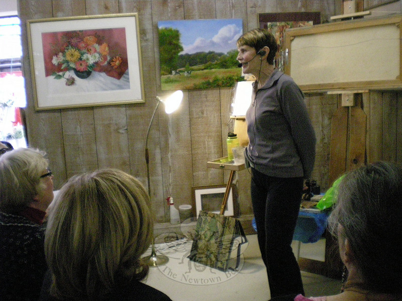 Watercolor landscape artist Patricia Barkman gave a presentation at The Society of Creative Arts of Newtown's (SCAN) Annual Color in January Show & Sale's opening day event on January 23.  (Hallabeck photo)