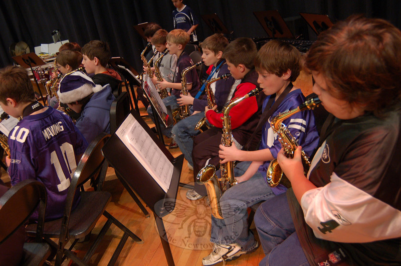 Fifth grade students in Reed Intermediate School's band group Blue House practiced on January 15 for the band's Winter Concert, which was presented  in the school's cafetorium Wednesday, January 20.  (Hallabeck photo)