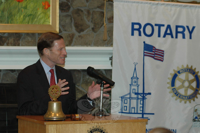 Richard Blumenthal visited with Rotary Club of Newtown on January 25.  (Voket photo)