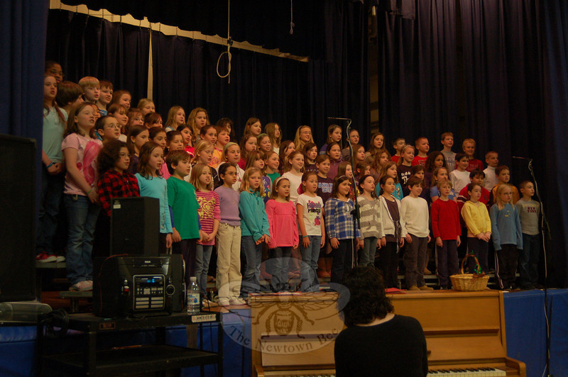Students in Middle Gate School's chorus sang a winter concert for their fellow students on Thursday, January 14, under the guidance of music teacher Tina Jones. The concert on Thursday was a rehearsal for the formal Winter Concert held at the school later that evening.  (Hallabeck photo)