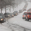Travel was treacherous on Church Hill Road Thursday morning. Cars and trucks inched along as the pavement turned slick under a thin layer of snow.  (Gorosko photo)