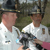 Police Lieutenant George Sinko, left, and Captain Joe Rios spoke at a news conference held by police on April 15 at 89 Poverty Hollow Road about the homicide investigation into the death of Elizabeth Gough Heath.  (Gorosko photo)