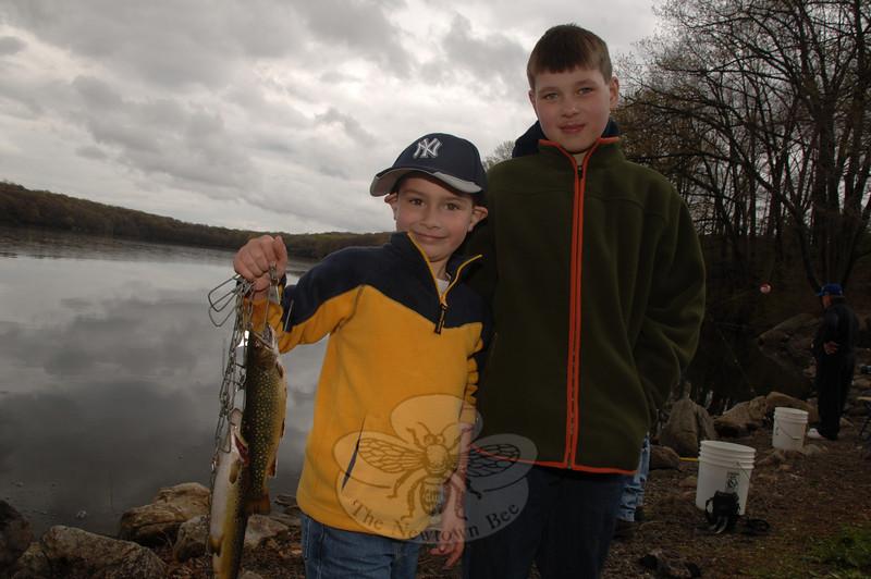 Charlie Stock and John Payne had a productive day at the lake on Saturday, April 17.  (Bobowick photo)