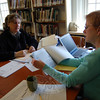 By appointment, genealogists with the Connecticut Professional Genealogists Council spoke to visitors at C.H. Booth Library on Saturday, April 10, and addressed their genealogy questions during The Ancestor Road Show hosted by The Genealogy Club of Newtown and the Connecticut Ancestry Society. In this photo genealogist Nora Galvin of Bridgeport was meeting with Kathleen Zuris of New Milford. The event was the first of its kind in Newtown, and all genealogists were booked during the event's hours.  (Hallabeck photo)