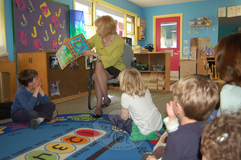 "Superintendent of Schools Janet Robinson read to students at Merryhill Child Care Center on Wednesday, April 14. Dr Robinson was asked to attend the school to help celebrate its ""Week of The Young Child.""  (Hallabeck photo)"