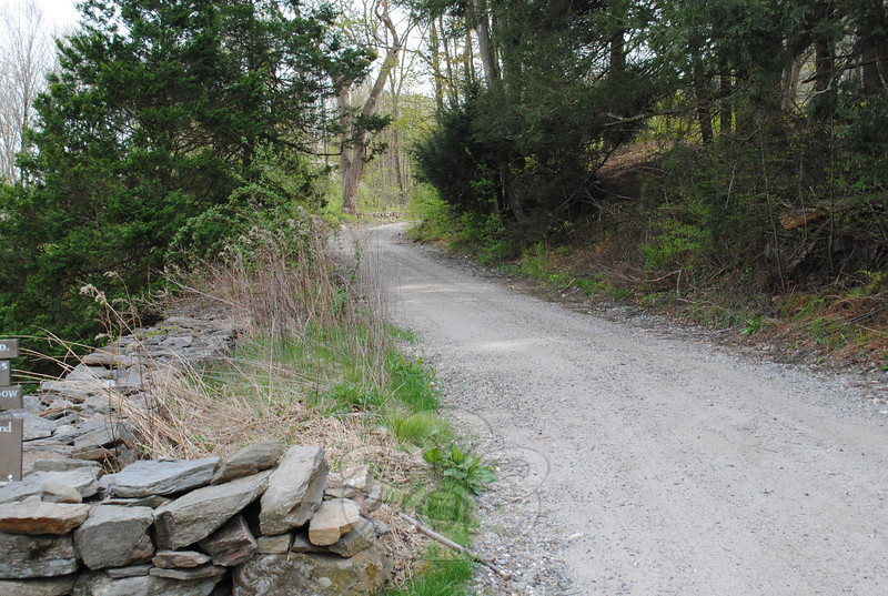 Pootatuck Road, once the main road from South Britain to Bennett's Bridge in Sandy Hook, is a 1½-mile hike from the barn to the top, passing through wetlands, woodlands, and meadows.  (Crevier photo)