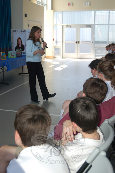 St Rose School students heard author Deborah Heiligman speak about being an author and her books during a cultural arts event at the school on Thursday, April 15.  (Hallabeck photo)