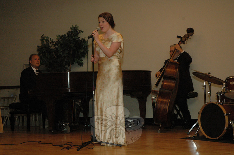 "Madeline Huber sang ""Only A Paper Moon"" at Town Players' performance of ""Cabaret 1935."" Ms Huber was accompanied by Bob Lasprogato's Uptown Jazz, a piano-bass-drums trio.  (Gorosko photo)"