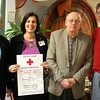 Red Cross representative Lynne Phillips, second from left, is joined by Newtown Lions Club members Frank Delucia, Auggie D'Alessandro, and Kevin Corey in reminding residents that an American Red Cross blood drive will be conducted on May 3 at Newtown Congregational Church. The Lions are sponsoring the event.  (Hicks photo)