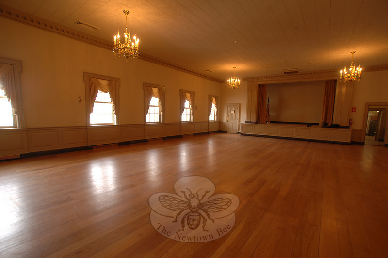 Refinished floors greet guests occupying The Alexandria Room for a conference, private party, catered business, or town function.  (Bobowick photo)