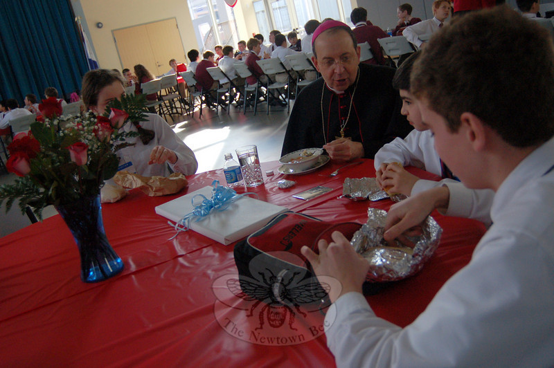 Bishop William E. Lori ate lunch with students at St Rose of Lima School on Tuesday, January 26, when he visited the school to mark the then-upcoming celebration of Catholic Schools Week, February 1–5.  (Hallabeck photo)