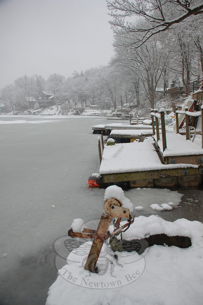From the shores on Lake Zoar along Underhill Road, residents' docks filled with snow along the waterline.  (Bobowick photo)