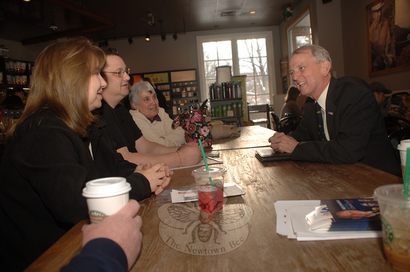 Senate candidate and former representative Rob Simmons held a meet and greet session at Starbucks on Wednesday, February 17. With Mr Simmons, from left, are local Republicans Barbara Bloom, Mitch Bolinsky and Marie Smith.  (Bobowick photo)