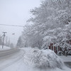 Church Hill Road approaching the flagpole Tuesday revealed nearly whiteout conditions.  (Bobowick photos)