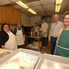 The kitchen crew for St John's Episcopal Church's 53rd Shrove Tuesday Pancake Supper fed just under 100 brave folks who showed up for dinner despite a snow storm earlier in the day.  (Bobowick photo)