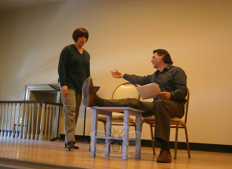 """Twenty-Four Years was the second play in Play With Your Food's offering at Edmond Town Hall on February 18. Mr Hannon said he fully understood how confused the husband in this play felt. """"I know 'I'm sorry' is what I'm supposed to say [to my wife] sometimes, but I don't know what I'm earth I'm sorry for,"""" he said following the performance.  (Hicks photo)"""