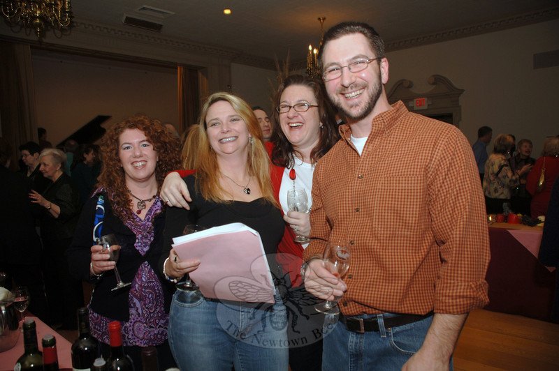 Laughing and enjoying the recent Mary Hawley Society fundrasier are, from left, Heidi Pinheiro, Kim Sharpe, Jackie Wilcox, and Chris Laguna.  (Bobowick photo)