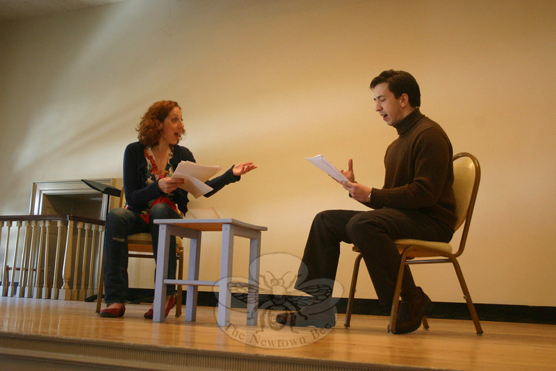 Alison Cimmet and Damian Long starred as Betty and Bill in David Ives's Sure Thing, which opened the Play With Your Food presentation on February 18 at Edmond Town Hall.  (Hicks photo)