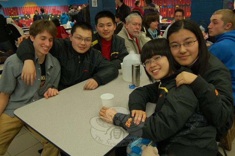 Student visitors in a delegation from Newtown High School's sister school, Liaocheng Middle School Number 3, Shandong Province, China, attended a special celebration for the Chinese New Year on Saturday, February 20, at NHS.  (Hallabeck photo)