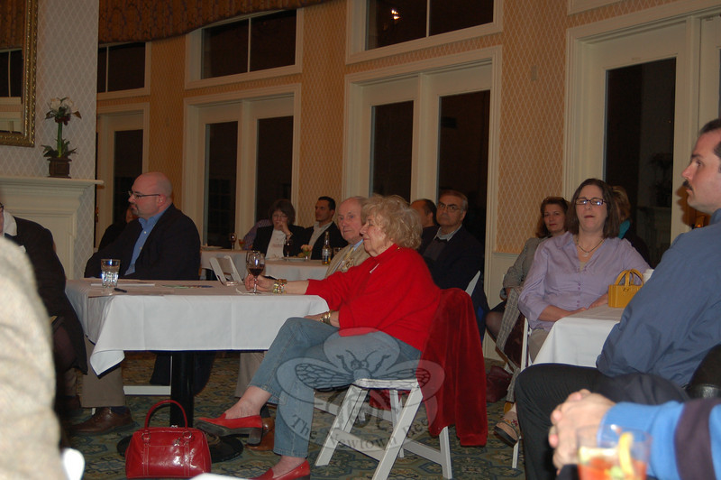 """Approximately 36 community members and business people, including former Newtown state representative Mae Schmidle, center, and Robert Michalik from the office of Con-gressman Christopher Murphy, seated with Ms Schmidle, attended a February 18 meeting to unite the Stony Hill, Bethel, and Hawleyville areas. """"It's amazing when you get a concerted effort how much of a change that can make,"""" Mr Michalik told the crowd.  (Crevier photo)"""