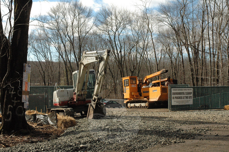 A staging area has been created at 40-50 Mile Hill Road South for the storage of equipment, materials, and supplies to be used for an environmental cleanup project stemming from chemical contamination that originated at the nearby Noranda Forge Fin industrial site off Prospect Drive.  (Gorosko photo)