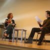 "Alison Cimmet and Damian Long starred as Betty and Bill in David Ives's Sure Thing, which opened the Play With Your Food presentation on February 18. The play follows two young adults as they meet in a coffeehouse and try to make a connection, while using many pickup lines and starting over each time one gives an answer the other does not like.  In a postperformance discussion, Ms Cimmet (who appeared courtesy of Actors Equity Association) said the play reminded her of ""one of those choose-your-adventure books.""  (Hicks photo)"