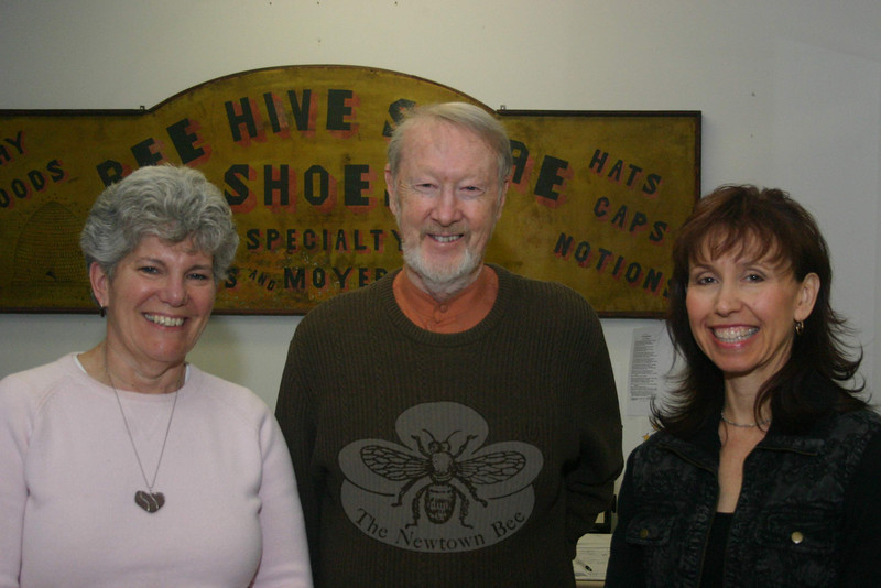 The Reverend Leo McIlrath, center, will moderate a panel discussion during Church Women United of Newtown's Human Rights Celebration on Sunday, March 7, that will include among its guests Linda Jones, right. On the left is Linda Manganaro, who is the celebrations chair for the local CWU unit.  (Hicks photo)