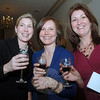 Cheers! Friends Sarah Findley, left, toasts with Beth Myer, center, and Jenn Whittle.  (Bobowick photo)