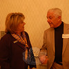 Newtown Chamber of Commerce President Ann Marie DeWeese and former Newtown Selectman Paul Mangiafico share a moment before speaking at the Thursday evening gathering of Hawleyville and Stony Hill business owners and residents. The evening also celebrated the anticipated reopening of the Hawleyville Post Office.  (Crevier photo)