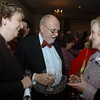 Jane and Don Sharpe speak with Newtown First Selectman Pat Llodra, right, during The Mary Hawley Society fundraiser at Edmond Town Hall on February 19.  (Bobowick photo)