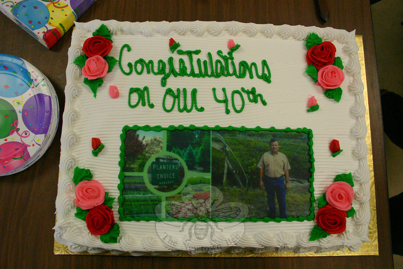 Planters' Choice Nursery celebrated its 40th anniversary on March 5 with a short celebration during the crew's afternoon coffee break.  (Hicks photo)