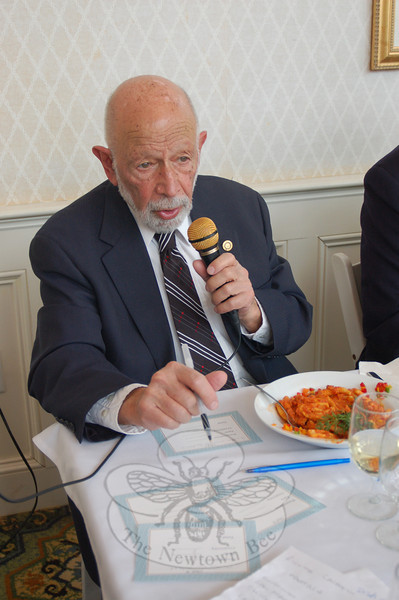 Dr Robert Grossman, who served as one of the judges for The Homesteads tasting event, offers his opinion on one of the dishes.  (Crevier photo)