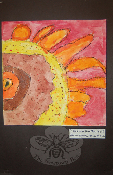 "Artwork now up at Sandy Hook Elementary School was produced by students ranging from first grade through high school. The work is part of ""Take A Closer Look,"" the first districtwide art exhibit based on a theme. This watercolor by Althea Hurley is based on a 1937 painting by Georgia O'Keeffe called ""A Sunflower from Maggie."" (Hallabeck photo)"