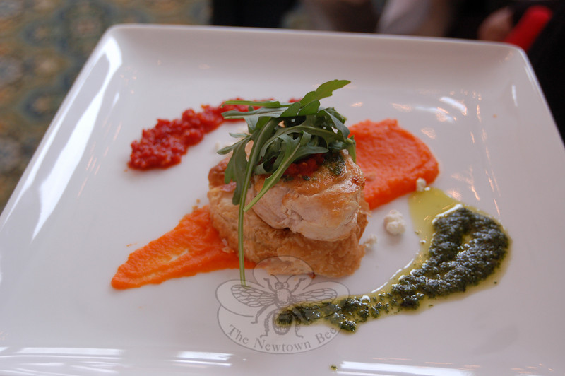 Puff pastry on a bed of carrot puree was topped with a sautéed chicken breast, and garnished with sundried tomato and basil pestos. Prepared by Homestead's chef Hector Velez, the dish won for taste, presentation and creativity.  (Crevier photo)