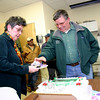 "Planters' Choice Nursery celebrated its 40th anniversary on March 5 with a short celebration during the crew's afternoon coffee break. Founder and owner Charles ""Chuck"" Newman was surprised with a cake by Barbara O'Connor, the company's former manager (now semiretired), who has worked with Mr Newman for 36 years.  (Hicks photo)"