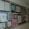 """Students across the district were asked to """"Take a Closer Look"""" for a collaborative art project that is now hanging in the schools after Sandy Hook School art teacher Leslie Gunn visited Santa Fe, N.M., last summer. This is part of the presentation at Hawley School.  (Hallabeck photo)"""