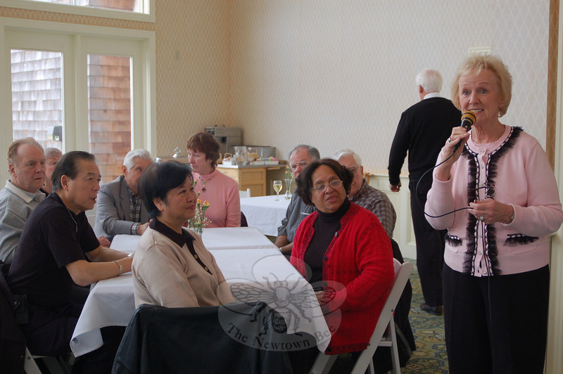 First Selectman Pat Llodra served as the emcee during a special tasting event at The Homesteads of Newtown on March 4.  (Crevier photo)