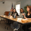Seated at left is the Reverend Leo McIlrath, who moderated a panel discussion for Church Women United-Newtown on March 7. Continuing from left are panel members Michelle Weinstein, Tiffany, and Linda Jones.  (Bobowick photo)