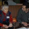 "Jane Gignoux, a master facilitator of ""world cafés,"" above left, met with Newtown Coffee Party Movement organizer Ben Roberts on Saturday, March 12, prior to the start of the first meeting of the national group that promotes respectful conversation as a means of regaining civic pride and cooperation in government.  (Crevier photo)"