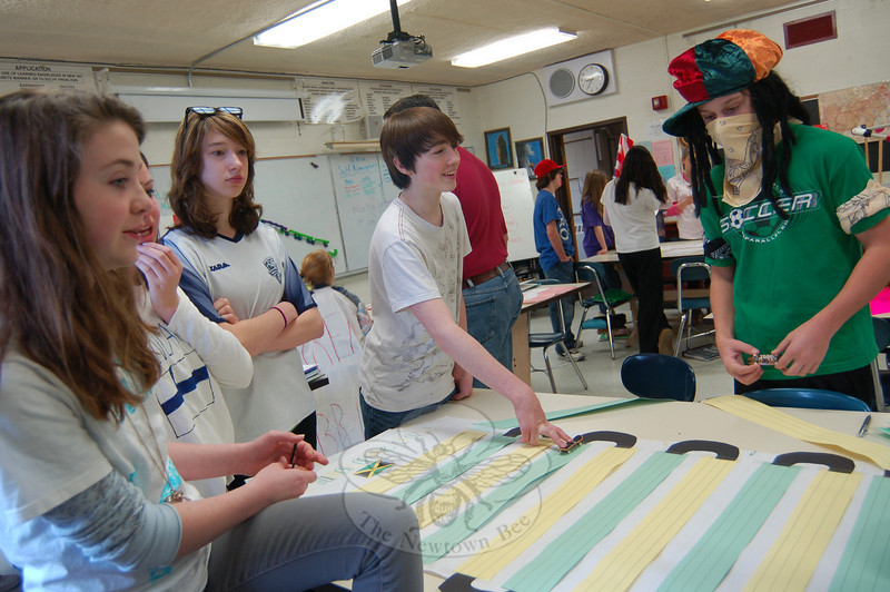 Cluster 8 Blue at Newtown Middle School had its own Olympic Games -- The Grammar Survivor Olympics -- earlier this month. The challenge was a new one for students and was created and developed by language arts teacher Jennifer Sinal and social studies teacher Phil Cruz.  (Hallabeck photo)
