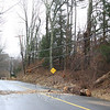 Police had to stay positioned on Toddy Hill Road during the day Sunday because residents were driving around the barricades that had been placed at the intersections of Quarry Ridge Road and Sugarloaf Road to divert traffic away from a series of poles that had been pulled down during the storm very early Sunday morning. Police officers had to also check on the barricades Sunday evening because residents continued to drive around them and, in a few instances, knocked them down, creating another public safety hazard.  (Hicks photo)
