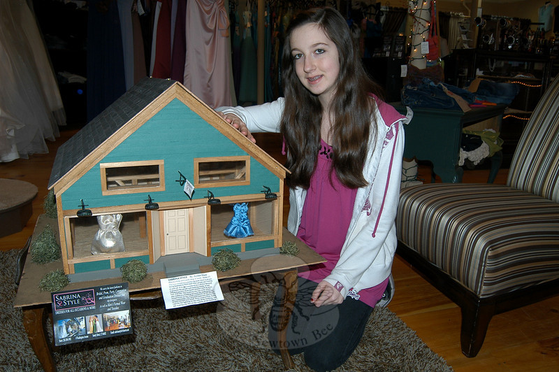 Newtown Middle School student Amber Shaw created a model of Sabrina Style, the boutique at 4 Washington Avenue in Sandy Hook Center boutique, as her eighth grade technology education course project.  (Hallabeck photo)